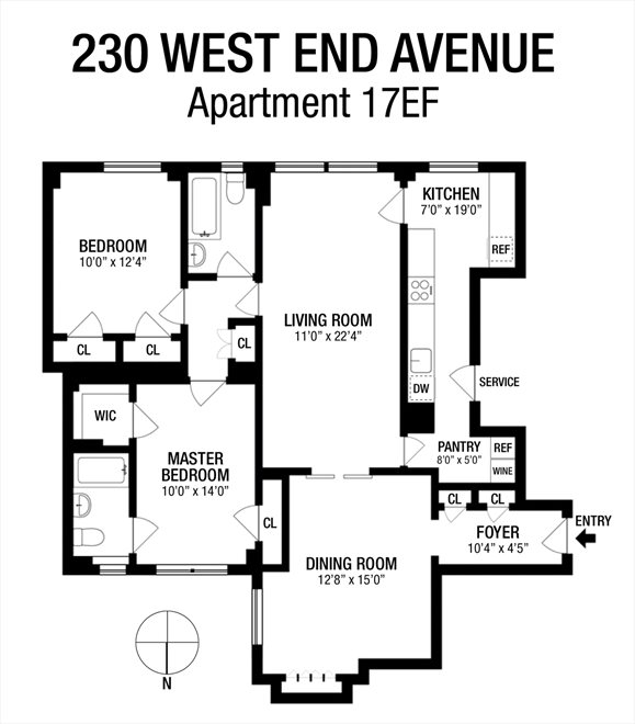 New York City Real Estate | View 230 West End Avenue, #17EF | Floorplan 1