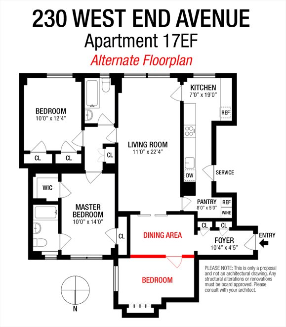 New York City Real Estate | View 230 West End Avenue, #17EF | Floorplan 2