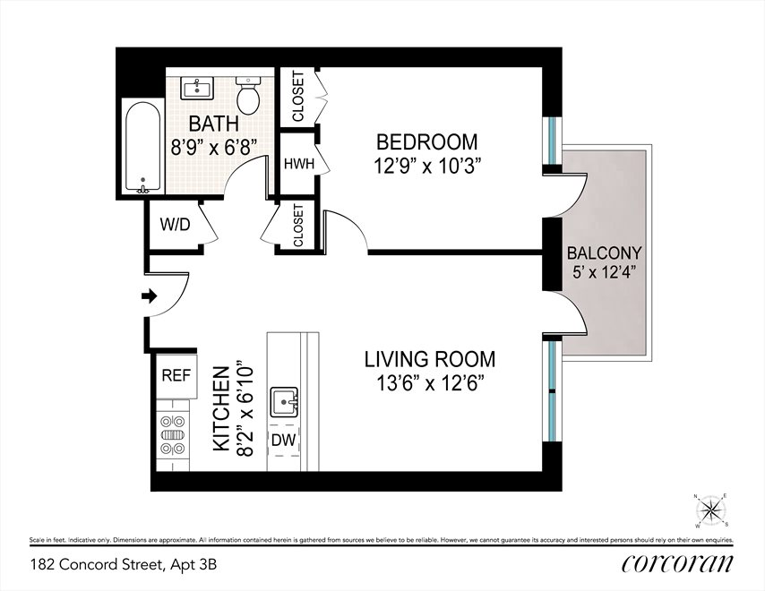 New York City Real Estate | View 182 Concord Street, #3B | Floorplan