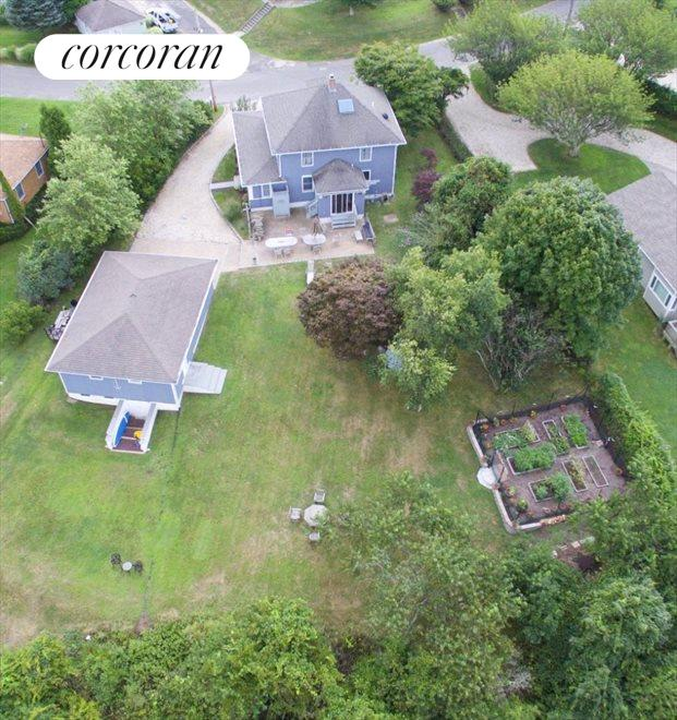 aerial shot of yard and house