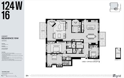 New York City Real Estate | View 124 West 16th Street, #10W | Floorplan 2