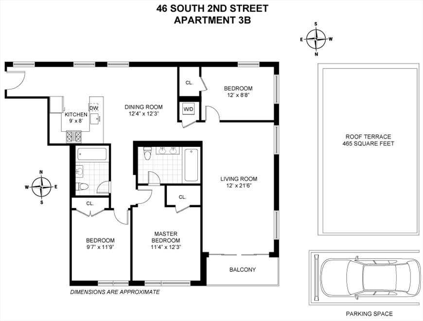 New York City Real Estate | View 46 South 2nd Street, #3B | Floorplan