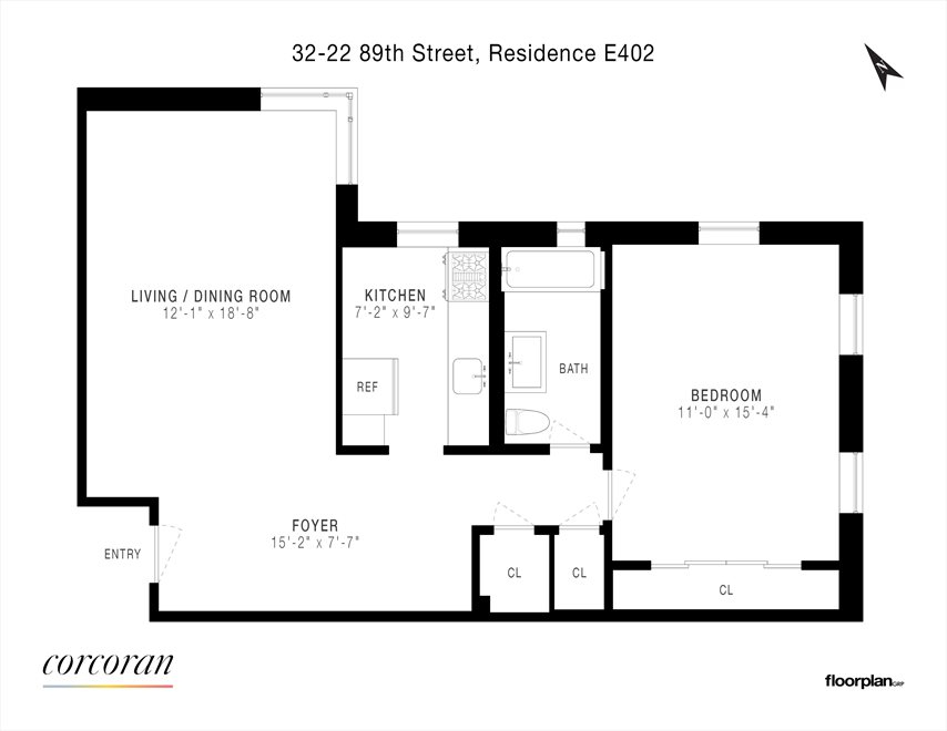New York City Real Estate | View 32-22 89th Street, #E402 | Floorplan