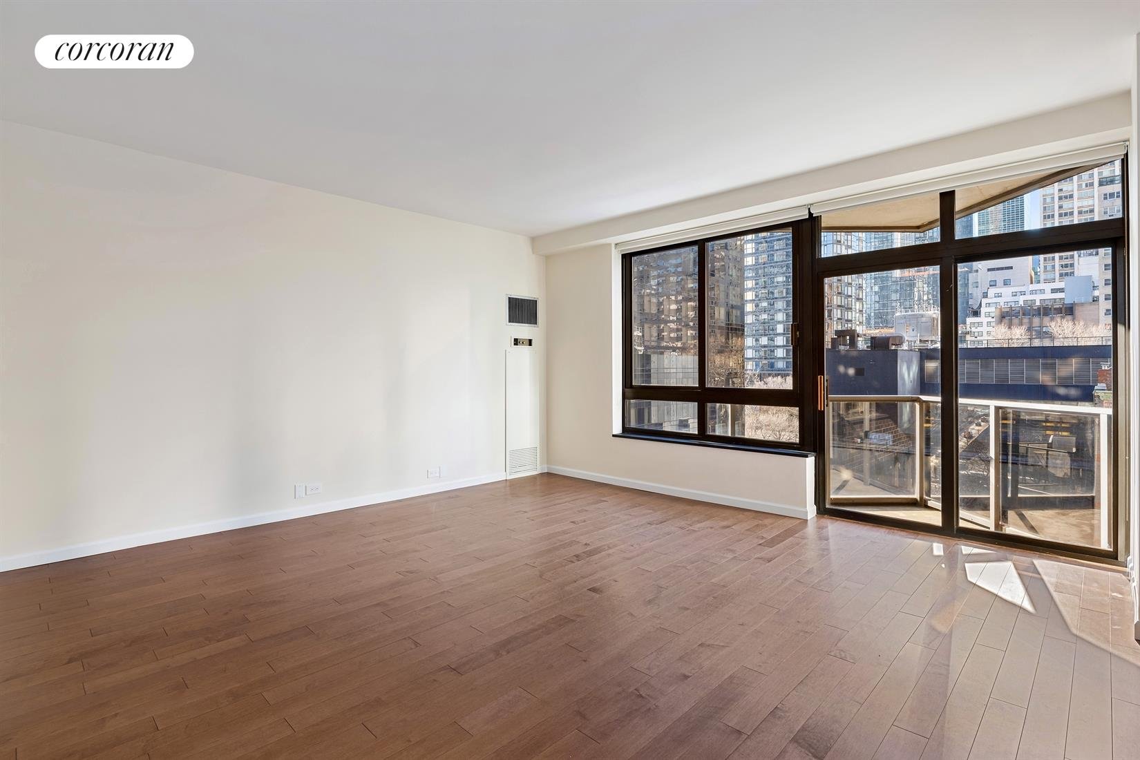 Spacious and sunlit renovated south-facing 1 bedroom, 1 bathroom with private balcony now available for rent at 100 United Nations Plaza.Be the first to occupy this newly updated unit that offers 9 ceilings, oversized windows, fantastic natural light and a private balcony off the living room. Upgrades include new wood floors throughout, renovated kitchen with brand new cabinets, Caesarstone counters, beveled subway tile backsplash, and new floors.  Stainless steel appliances from Sub-Zero and GE that include a dishwasher and microwave. The large living room enjoys warm southern light, has brand new solar shades, and will comfortably accommodate separate living and dining areas. The king-sized bedroom has new blackout roller shades and a large closet, while the marble bathroom features a Jacuzzi bathtub. Additional features include central heat and A/C and newly outfitted closets throughout. Located on East 48th Street and First Avenue, 100 United Nations Plaza is a white-glove, full service condominium located in Manhattan's Turtle Bay neighborhood. Greeting residents with beautifully landscaped gardens and waterfalls, this impeccably run building offers a 24-hour doorman, valet and concierge service, on-site management office, renovated lobby and resident's lounge, common laundry room, fitness center and direct access to a 24-hour attended parking garage. Conveniently located to transportation and many great shops and restaurants. Showing by appointment only. Condominium application required. Sorry, no pets allowed.