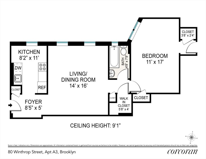 New York City Real Estate | View 80 Winthrop Street, #A3 | Floorplan
