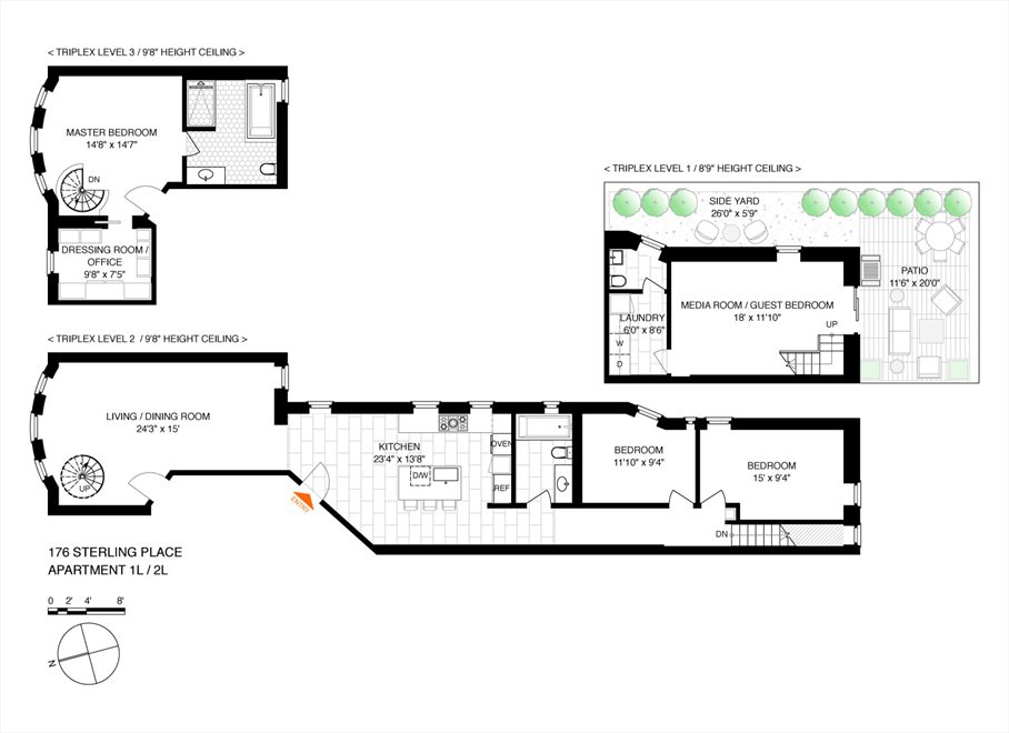 New York City Real Estate | View 176 Sterling Place, #1L/2L | Floorplan