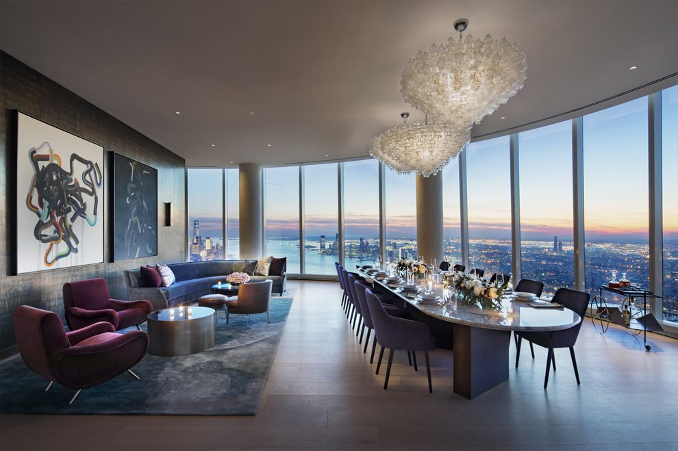 New York City Real Estate | View 15 Hudson Yards, #71E | Skytop's Dining Room with Private Catering Kitchen