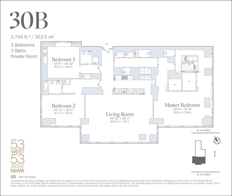 New York City Real Estate | View 53 West 53rd Street, #30B | Floorplan