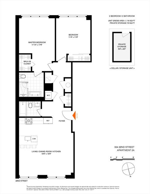 New York City Real Estate | View 334 22nd Street, #2A | Floorplan