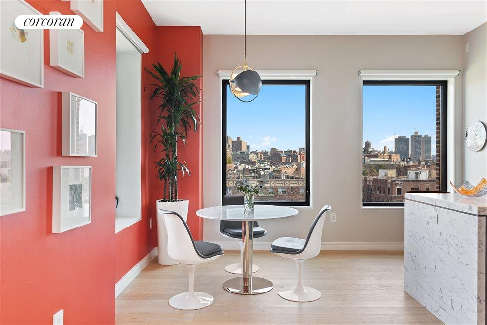 New York City Real Estate | View 100 Barrow Street, #9B | Corner Kitchen | Watch the Sun Rise Over NYC
