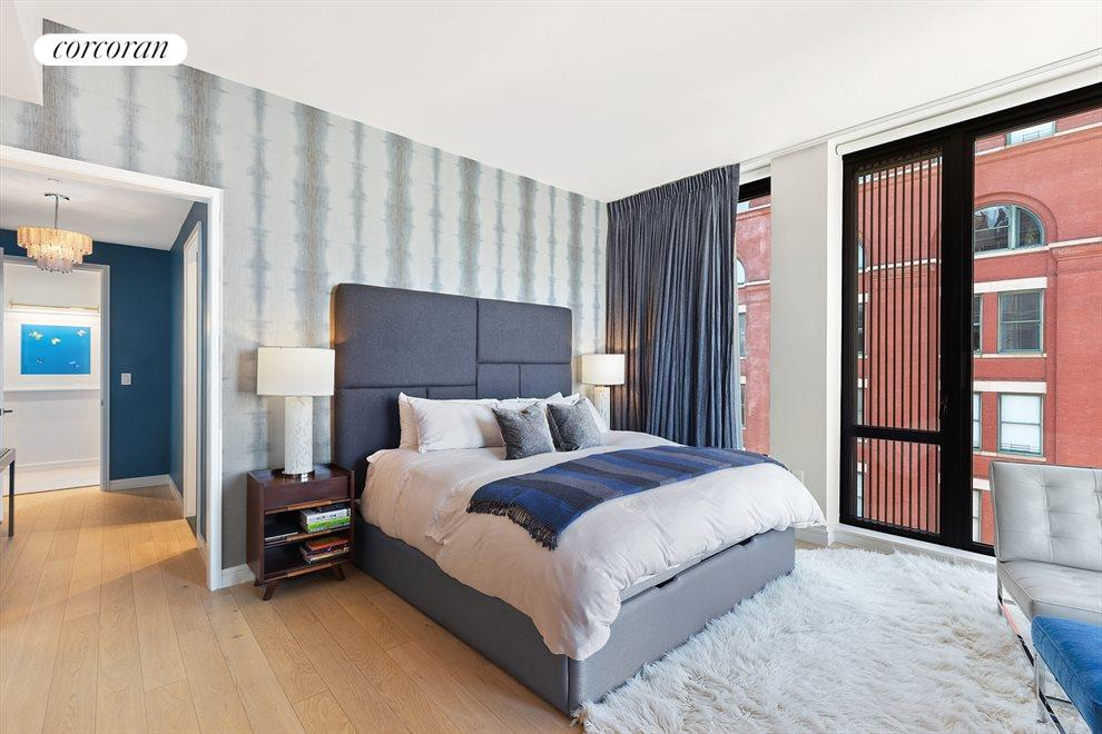 New York City Real Estate | View 100 Barrow Street, #9B | Master Bedroom | En-suite Bathroom | Views