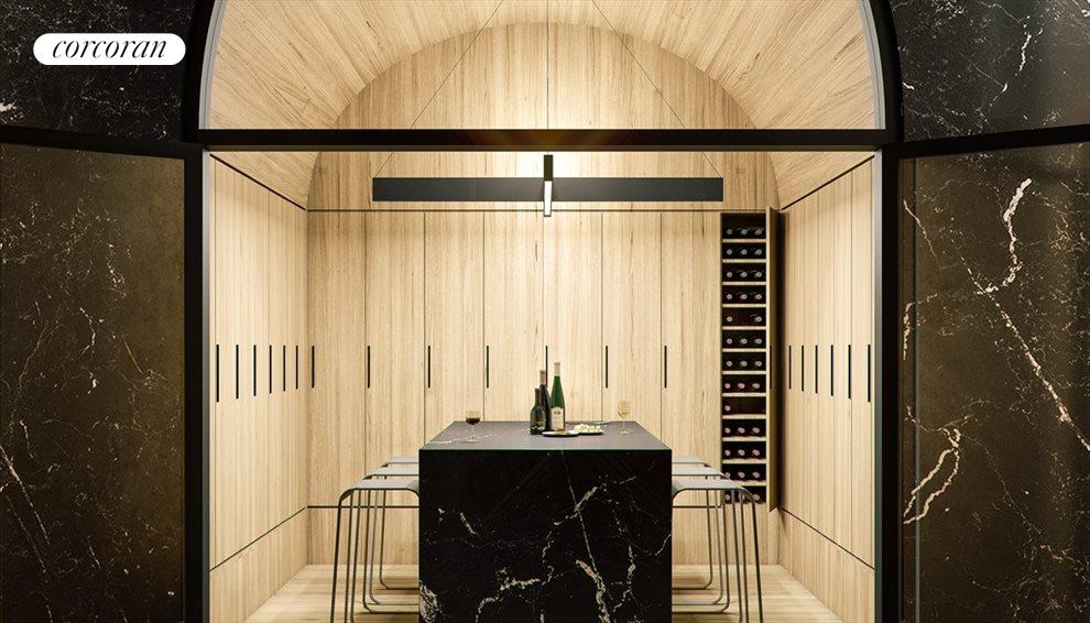 New York City Real Estate | View 100 Barrow Street, #9B | Wine Room with Private Wine Racks