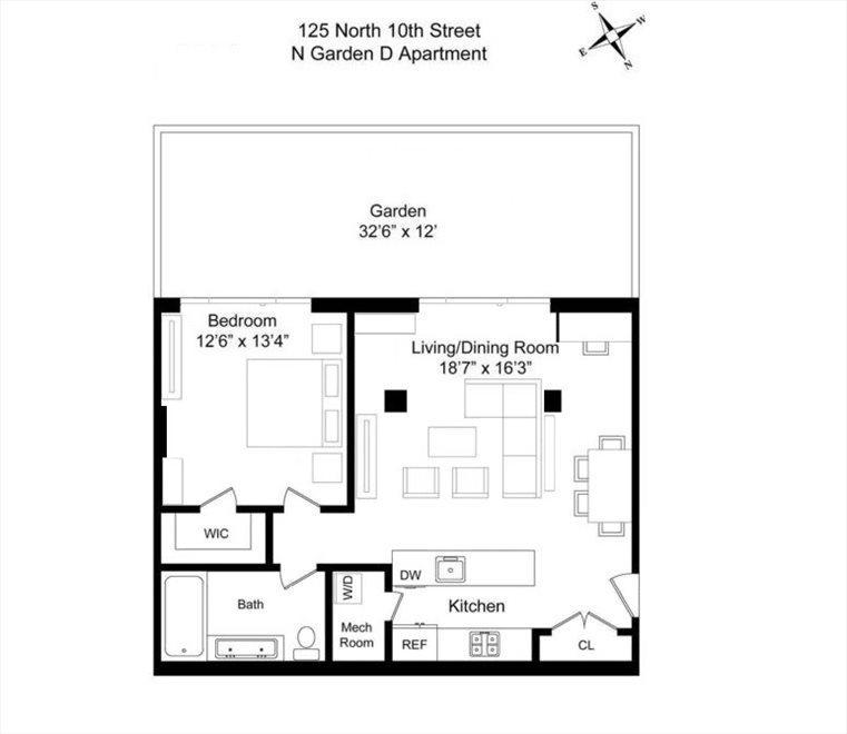 New York City Real Estate | View 125 North 10th Street, #NGD | Floorplan