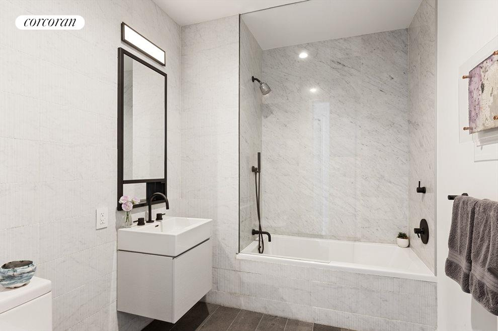 New York City Real Estate | View 100 Barrow Street, #9B | 3rd Bathroom | Radiant Heated Floors in Bathrooms