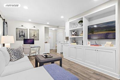 New York City Real Estate | View 350 Bleecker Street, #4U | Beautiful Living Room custom cabinetry