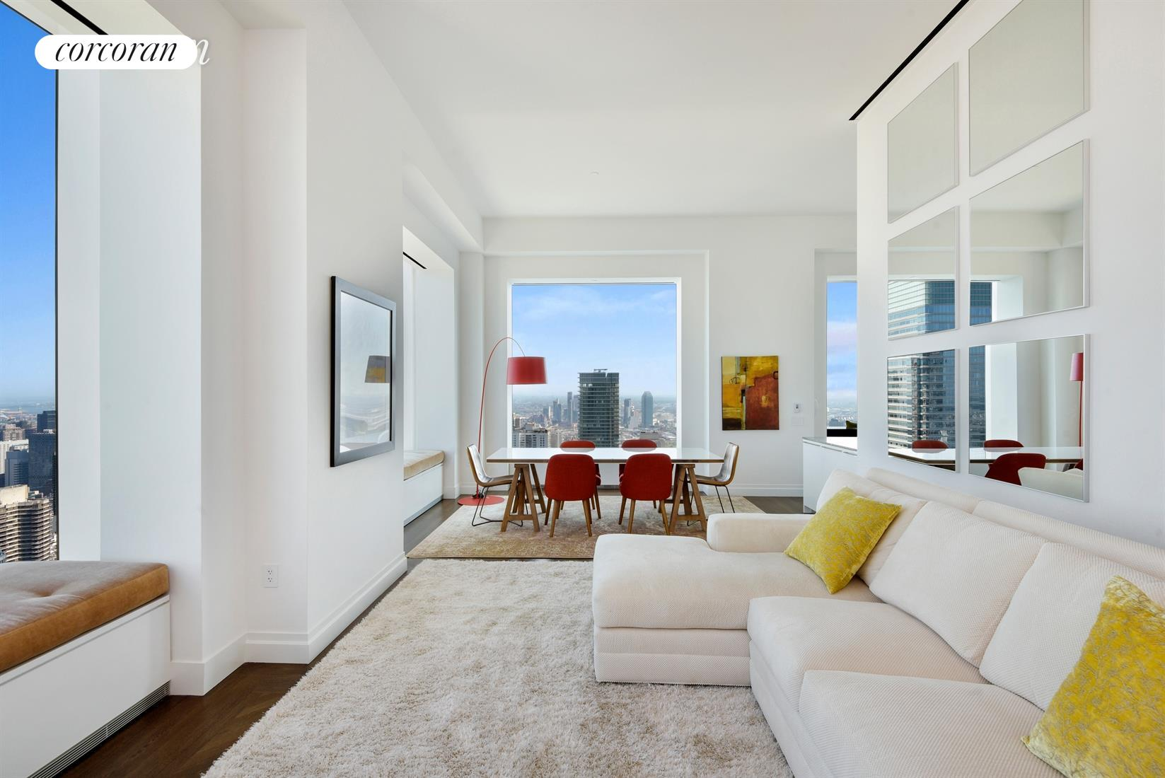 """Unique opportunity to own a rarely available two-bedroom two-and-a-half-bathroom home in the iconic 432 Park. This fabulous home boasts 12'-6"""" ceilings, expansive 10' x 10' windows providing Eastern and Northern exposures with sweeping views of Central Park and the East River. A gracious foyer leads to a grand corner living and dining room. The windowed eat-in kitchen includes a counter into the dining area, a long breakfast bar positioned by the window, white lacquer cabinets and natural oak cabinetry, marble counter-tops, Miele stainless steel appliances and Dornbracht polished chrome fixtures. The master bedroom suite has amazing Central Park views and the master bathroom has marble floors and walls, cubic marble vanities, custom wood cabinetry, soaking tub and separate shower, radiant heated floors and Dornbracht polished chrome bath fittings. Semi-private elevator landing and service entrance. Building amenities include en-suite dining, room service, lounge, private restaurant, outdoor terrace, 75 foot indoor swimming pool, gym, spa, steam room, sauna, massage, library, billiard room, conference room, screening/performance venue, playroom, yoga studio, 24-hour doorman, and an onsite parking garage."""