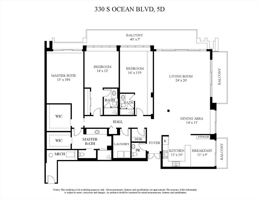 South Florida Real Estate | View 330 S Ocean Blvd, 5D | Floorplan
