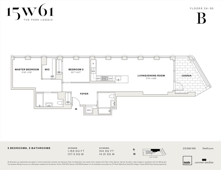 New York City Real Estate | View 15 West 61st Street, #27B | Floorplan
