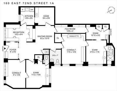 New York City Real Estate | View 160 East 72nd Street, #1A | Floorplan