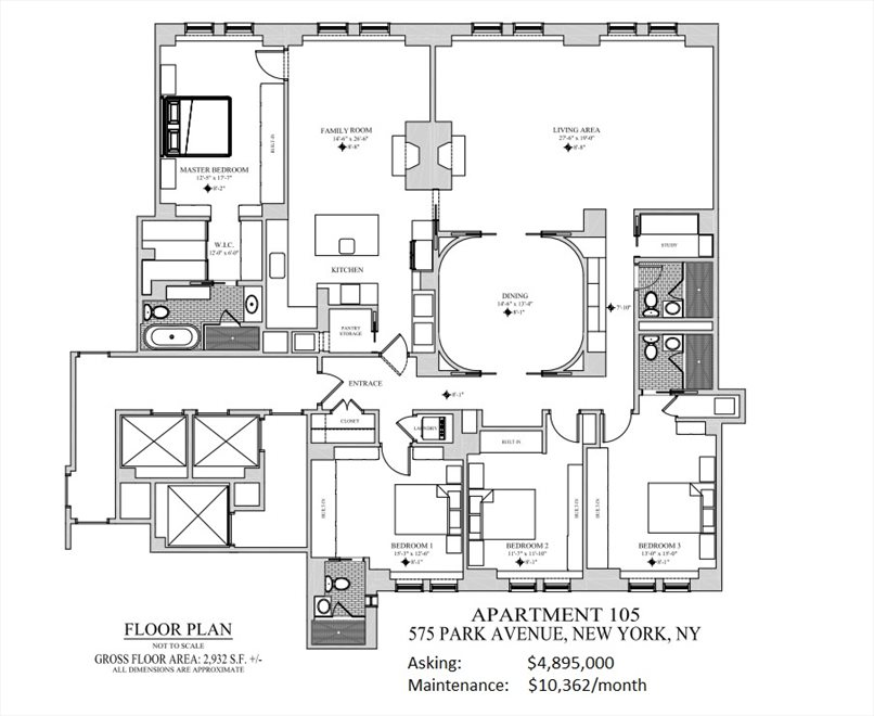 New York City Real Estate | View 575 Park Avenue, #105 | Floorplan