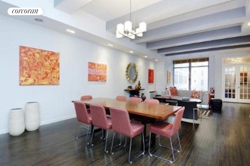 Best value at the Chelsea Mercantile. This 1 bedroom plus 2 home offices functions as a 3 bedroom 2 bath residence. Measuring 2,066 square feet with 11' ceiling heights. Every room is extraordinary in size. The great room measures 46' and the master bedroom is 24' long. The open kitchen w/island has high end appliances. And, your very own laundry room/pantry is the ultimate in convenience. Western views of the gardens and fountain allow for afternoon sun. The master suite has an enormous closet/dressing room and 5 piece bath with dual sinks, oversize tub and separate stall shower.Fully attended building with gorgeous 10,000 sf landscaped roof deck with 'forever views' all around the city. fitness room, playroom and storage for each unit - all included. Valet, Public parking garage in building. If that is not enough Whole Foods is right downstairs. s
