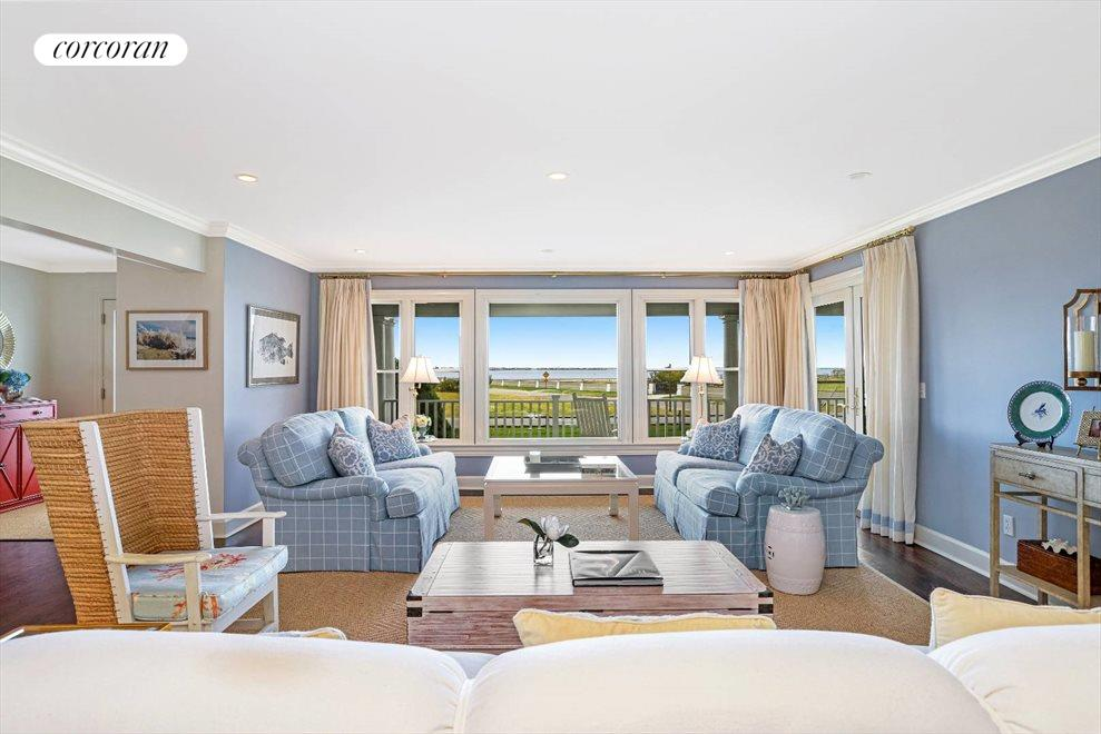 Living room with waterviews
