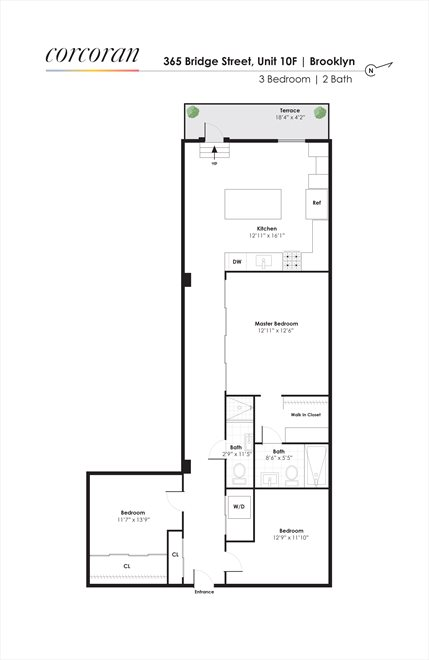 New York City Real Estate | View 365 Bridge Street, #10F | Floorplan