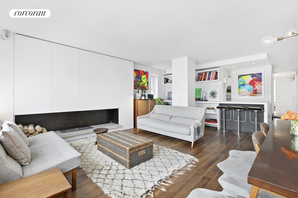 New York City Real Estate | View 201 West 21st Street, #PH14/15 | Living Room to Open Kitchen