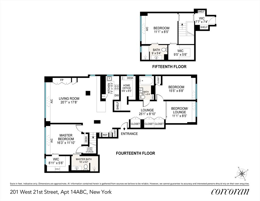 New York City Real Estate | View 201 West 21st Street, #PH14/15 | Floorplan