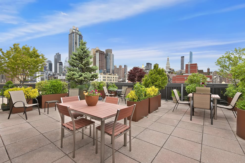 New York City Real Estate | View 201 West 21st Street, #PH14/15 | Gorgeous Planted Roof Deck with 360 Views