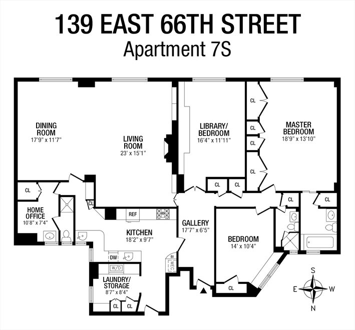 New York City Real Estate | View 139 East 66th Street, #7S | Floorplan