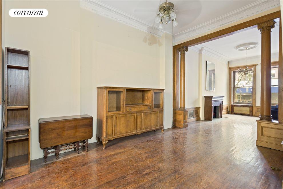 New York City Real Estate | View 263 West 90th Street | Enormous double parlor with original columns