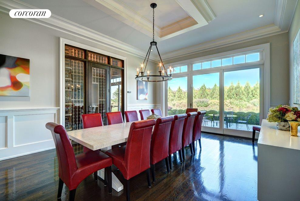 dining room with wine room