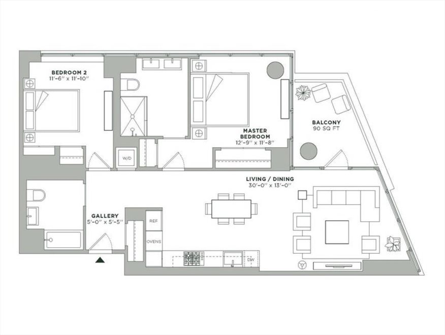 New York City Real Estate | View 21 India Street, #28K | Floorplan 1