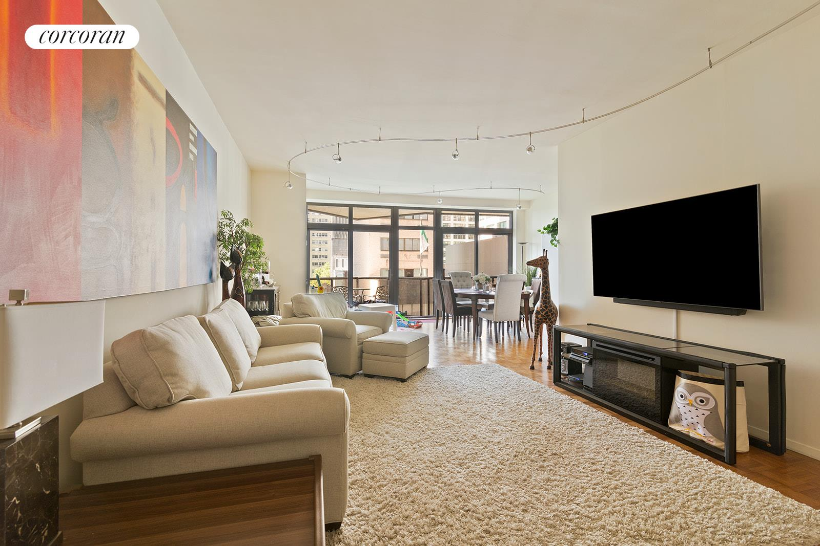 Great Investor Opportunity -- Tenant in place through at least June 30, 2021.Spacious corner unit with 2 bedrooms, 2.5 bathrooms and 2 private balconies available for sale at 100 United Nations Plaza  one of Turtle Bays premier white glove condominiums. This highly desired E line apartment offers a split bedroom layout, three exposures, 9 ceilings and floor-to-ceiling windows in nearly every room. The spacious living room has direct views to the south with access to a private balcony and with a flexible layout to accommodate separate living and dining areas. A wall of floor-to-ceiling windows provide loads of natural light and city views to the south. The windowed kitchen faces west and has full size appliances including a Sub-Zero refrigerator, gas range, dishwasher and microwave. The master bedroom suite has floor-to-ceiling windows including a sliding glass door to the second, north-facing private balcony. There is also a very large walk-in closet and en suite marble bathroom with a Jacuzzi bathtub. The south-facing second bedroom is equally as large and has its own en suite marble bathroom and two closets. This unit also has central heat and A/C and guest powder room.Located on East 48th Street and First Avenue, 100 United Nations Plaza is a white-glove, full service condominium in Manhattan's Turtle Bay neighborhood. Greeting residents with beautifully landscaped gardens and waterfalls, this impeccably run building offers a 24-hour doorman, valet and concierge service, on-site management office, renovated lobby and resident's lounge, common laundry room, fitness center and direct access to a 24-hour attended parking garage. Conveniently located to transportation and many great shops and restaurants.