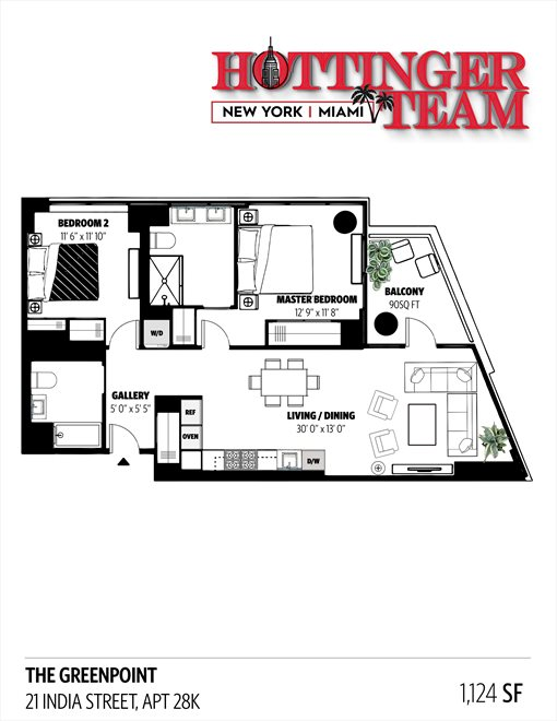 New York City Real Estate | View 21 India Street, #28K | Floorplan 2