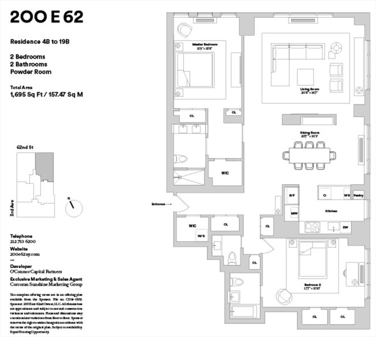 New York City Real Estate | View 200 East 62nd Street, #17B | Floorplan