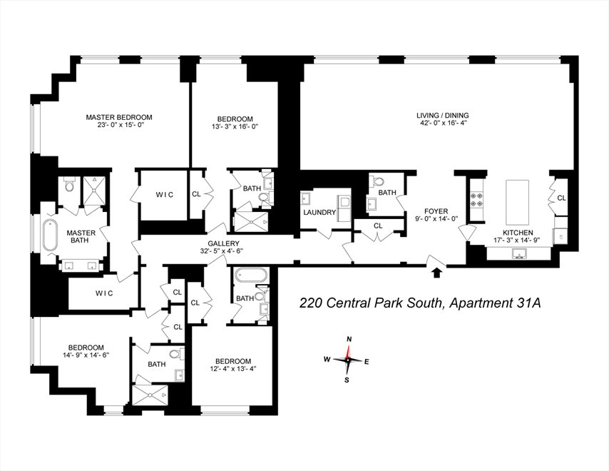 New York City Real Estate | View 220 Central Park South, #31A | Floorplan