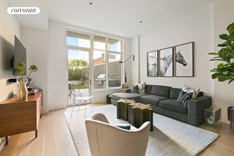 New York City Real Estate | View 509 Pacific Street, #3A | Living Room Faces Large PRIVATE Terrace