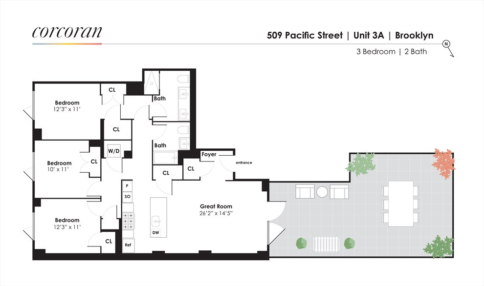 New York City Real Estate | View 509 Pacific Street, #3A | Floorplan