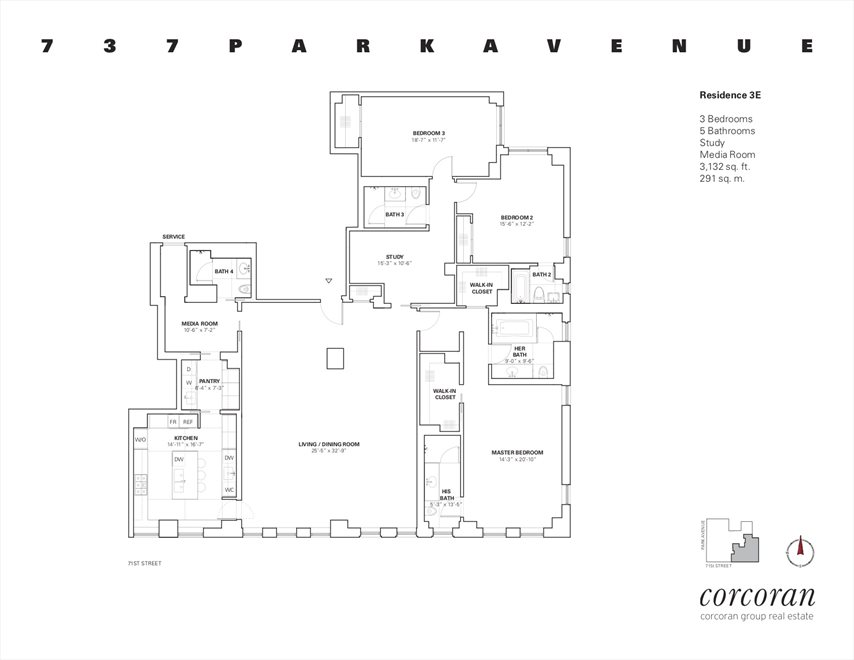 New York City Real Estate | View 737 Park Avenue, #3E | Floorplan