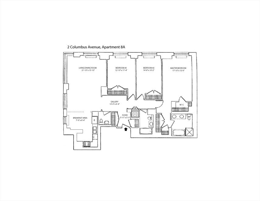 New York City Real Estate | View 2 Columbus Avenue, #8A | Floorplan