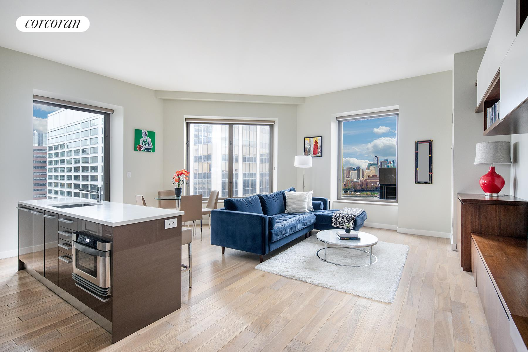 Welcome home to residence 29-O at 75 Wall Street. This breathtaking 2 Bed / 2 Bath corner unit has direct East River views, as well as 10' ceilings, oversized 6' windows, split-bedroom layout, individual heat pump HVAC, and an in-unit Bosch washer/dryer.The apartment features wide-planked Cerused oak flooring throughout, and an open chef's kitchen with top of the line appliances including Sub-Zero refrigerator, Bosch dual ovens and a five-burner range, and Miele dishwasher. Sleek lacquered cabinetry by the Italian Design Studio, CaesarStone counters, and glass tile backsplash make this kitchen as stylish as it is functional.Both gut renovated bedrooms are well-proportioned with ample storage. The renovation includes brand new bathtubs, showers, fixtures, countertops and lighting. In addition, all doors, frames and baseboard moldings throughout the apartment are brand new. All custom upgrades are by Dartom Construction, one of New York's finest custom contractors.Enjoy Andaz 5 Star Hotel amenities such as room service, catering, housekeeping, on-site parking, valet laundry, and a 24-hour doorman and concierge services. 75 Wall Street offers 30,000 square feet of amenities including the stunning 360 Sky Terrace Lounge with indoor/outdoor fireplace, bar/seating, hammocks, and gas grill with jaw-dropping river views, and skyline views of Brooklyn and Manhattan. Enjoy a world-class fitness center, screening room, Yoga/Pilates studio and kids' playroom.This downtown location is conveniently located near restaurants such as Nobu, Augustine, Capital Grille, Cipriani, Eataly, Le District, and Jean-Georges. Enjoy tons of shops at Brookfield, Westfield, Calatrava Occulus, Farmers markets, and a Whole Foods coming soon.