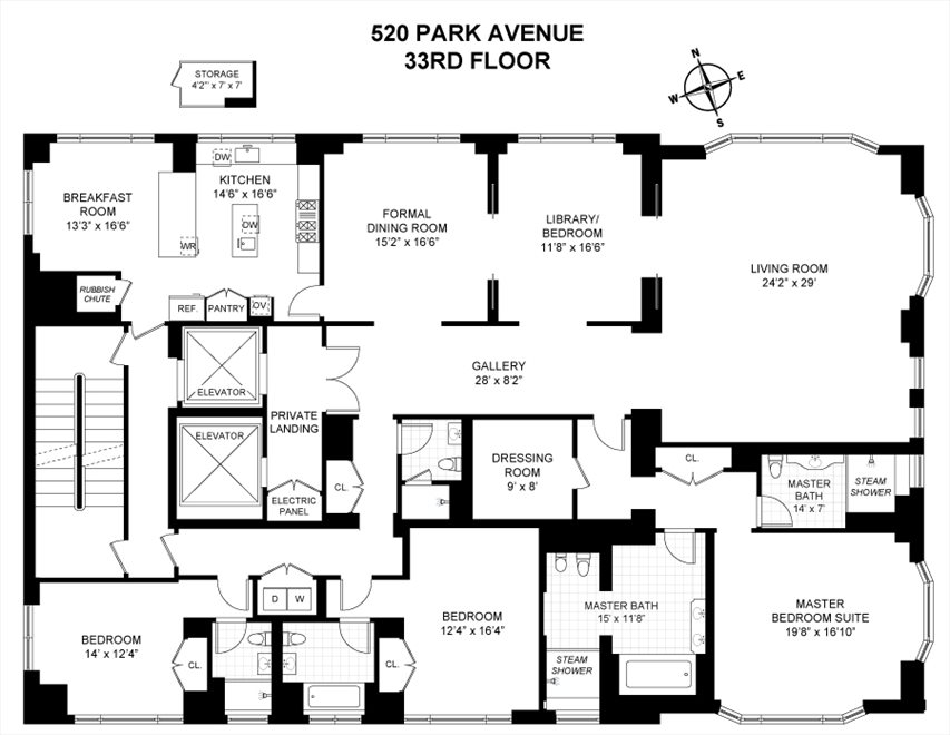New York City Real Estate | View 520 Park Avenue, #33 | Floorplan