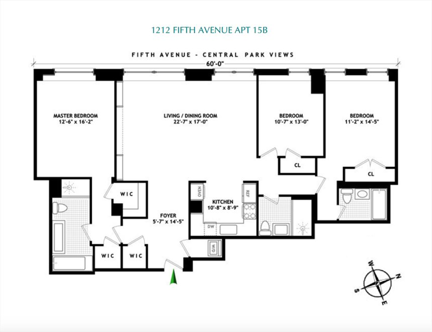 New York City Real Estate | View 1212 Fifth Avenue, #15B | Floorplan