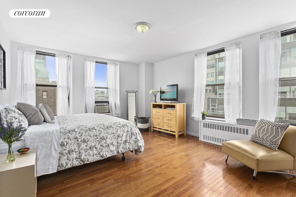 New York City Real Estate | View 75 Livingston Street, #13A | Primary bedroom with option for desk for easy WFH