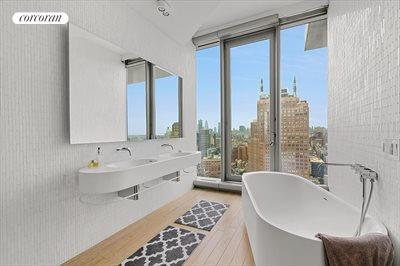 New York City Real Estate | View 56 LEONARD ST, #25A EAST | Travertine and marble clad master bathroom