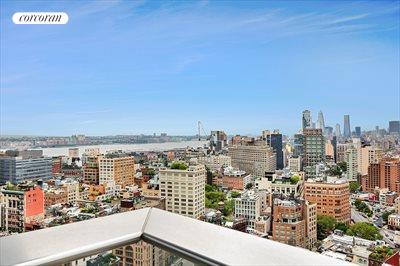 New York City Real Estate | View 56 LEONARD ST, #25A EAST | Terrace from master bedroom suite with river view