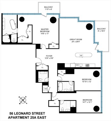 New York City Real Estate | View 56 LEONARD ST, #25A EAST | Floorplan