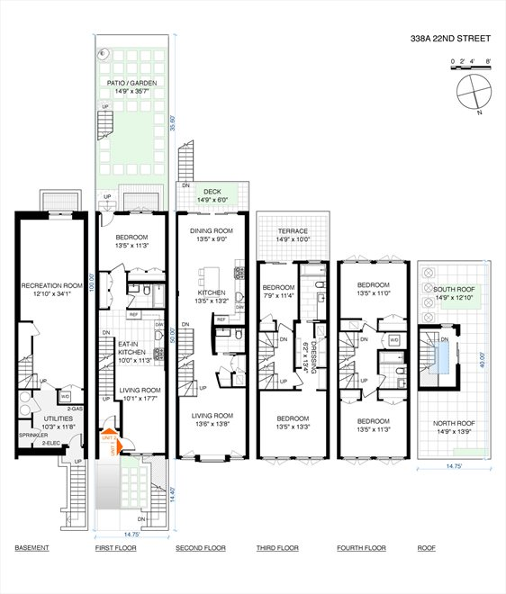 New York City Real Estate | View 338A 22nd Street | Floorplan